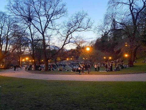 Mange var samlet i Nygårdsparken lørdag kveld.