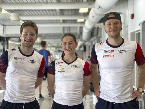 Sverre Lunde Pedersen, Julie Samsonsen og Håvard Lorentzen er den nye landslagstrioen fra Fana IL. De er nå i gang med samlinger, og landslaget startet opp på Olympiatoppen forrige uke.