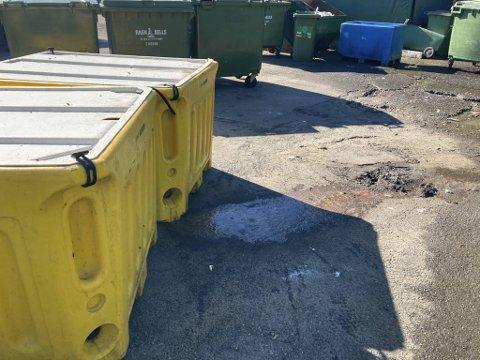 Fiskeavfall skal håndteres og lagres innendørs, men da Statsforvalteren var på inspeksjon sto disse beholderne ute i solsteken. En av dem var lekk.