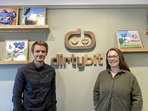 Daglig leder Erlend Børslid Haugsdal og markedssjef Anette Dahlstrøm Ståløy gleder seg over den positive utviklingen i Dirtybit AS.