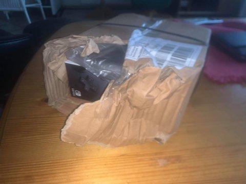 Slik så pakken til Tord Gundersen ut da den lå i postkassen forrige uke.
