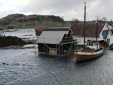 Stormflo: Finnesandkanalen onsdag 15. januar.