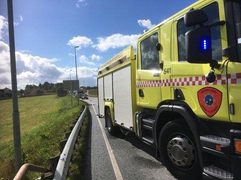 Lange køer: Trafikkuhellet på Harestad i Randaberg fører til lang bilkø på E 39.