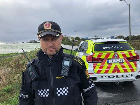 På stedet: Runar Heggen, innsatsleder i politiet.