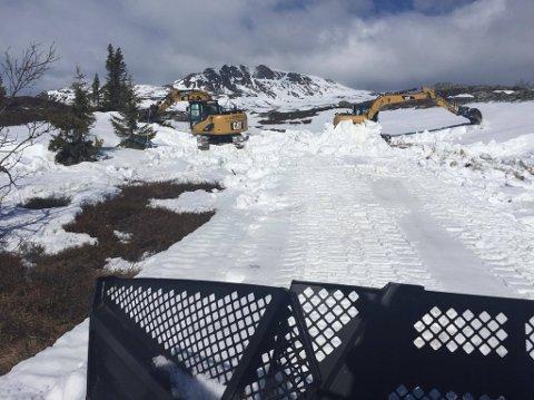 JOBBER PÅ SPRENG: Gravemaskinene er på plass i Eggedalsfjellet, for å sikre nok snø i løypene som palmesøndag skal brukes til Holmvassløpet.