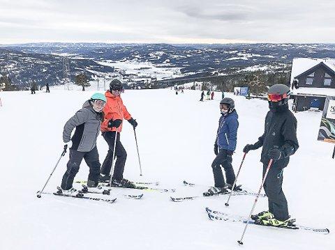 KOSER SEG PÅ SKI: Anja Hemmer, Viggo Tømmerås og barna Ellen og Oskar Hemmer fra Ebeltoft i Danmark tilbringer vinterferien på Norefjell som så mange andre dansker denne uken.