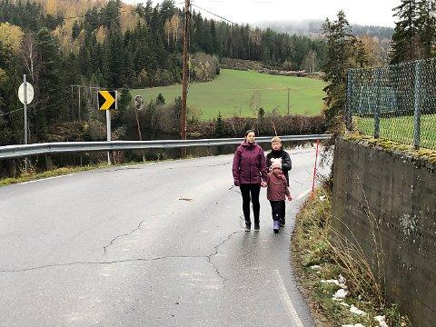 BEKYMRET: Anette Dahlen og barna Henning og Karoline - samt et tredevetalls beboere i nabolaget – ønsker strakstiltak på denne veien.