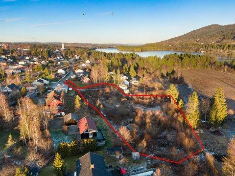 BOLIGTOMTER: Området selges samlet, men det er plass til fem boligtomter her. Den røde streken angir omtrentlig eiendomsgrense.