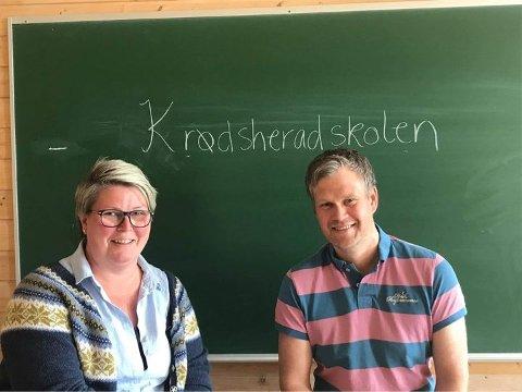 SKAL SAMARBEIDE: Linda Aaskjær og Lars Erik Raaen skal være ledere for to skoler sammen. Mandag ble det klart at Raaen erstatter Odd Henning Bentsen som blir pensjonist.