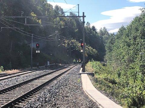 VINDVÆR: Kraftig vindvær førte til at ett tre blåste ned over kjøreledningene på Randfjordbanen i Åmot torsdag ved 12-tiden.