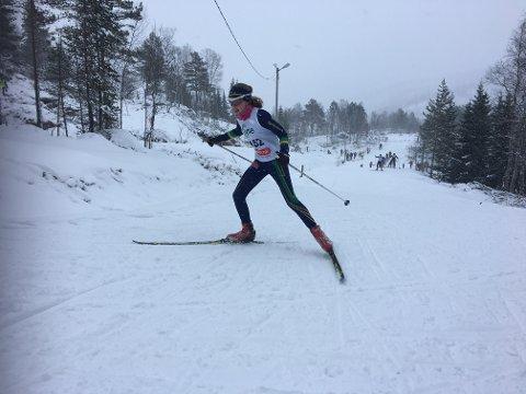 Sigrid Odland Paulsen frå Bjerkreim delte førsteplassen i J14-klassen med Elisa Vestvik Edland, Gjesdal IL.