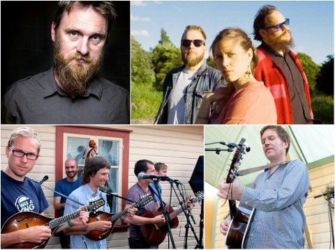 Erlend Ropstad (med klokka, start oppe til venstre), The secret sound of dreamwalkers, Steve Wynn og Bergen Mandolinband er bekreftet til Egersund Visefestival 2018.