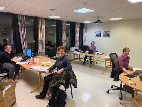 JEGERNE: Noen av arbeiderne i smittesporingen i Eigersund: Fra venstre: Monika KM. Skadberg, Ann Elin Wetlesen Strand, Mona Karin Egeland og Martha Bjønnes.