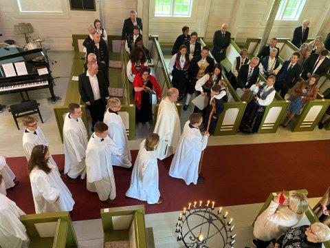 KONFIRMANTER: I helga har det vært mange konfirmasjoner i Bjerkreim. Bildet er fra Bjerkreim kyrkje i oktober 2020.