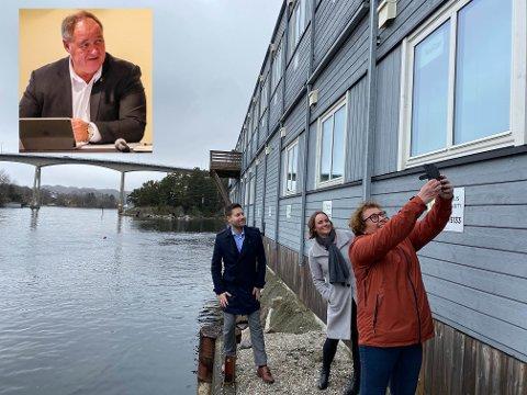 BRU TIL EIGERSUND, VEI TIL BJERKREIM?: Leif Erik Egaas (H) vet ikke hva som skjedde internt i regjeringen da valget falt på R1 som trasé for nye E39, men han håper at Eigerøy bru ikke har vært en del av diskusjonene. På hovedbildet poserer Kjartan Alexander Lunde (V), Margret Hagerup (H) og Olaug Bollestad (KrF) i anledning nyheten om at ny bru er med i Nasjonal transportplan. Et par dager seinere kom meldingen om at Eigersund ikke fikk E39-ønsket sitt oppfylt.