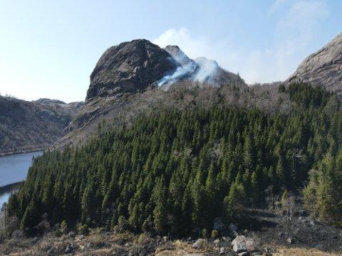 RØYK OVER ET STORT OMRÅDE: Brannvesenet bruker drone for å få oversikt over området det brenner i.