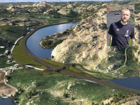 BESTE ALTERNATIV: Grunneigar og gardbrukar Jone Gystøl er klar på at dette alternativet, med mest utfylling i Ytra Kydlandsvatnet, er best for han sjølv, familien og gardsdrifta.