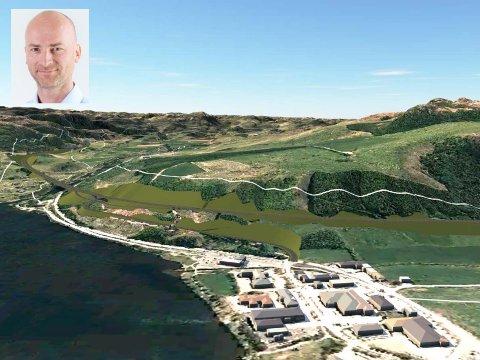 UTFORDRING, MEN IKKJE UMOGLEG: Illustrasjonen viser kryss på Svelaodden på Vikeså i staden for, som opphavleg planlagt, i Holmen på motsett side av Bjerkreimselva. - Det blir utfordrande å få plass til krysset på Svelaodden, men eg har tru på at me skal få det til, seier Asbjørn Heieraas i Nye Veier AS, som fredag i sist veke formelt overtok E39-prosjektet.