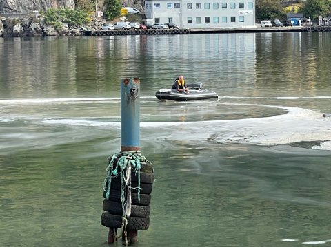 UTSLIPP? Hvitt skum brer om seg i havna. Ifølge maritim sjef i Eigersund Næring og havn er det helt ufarlig.