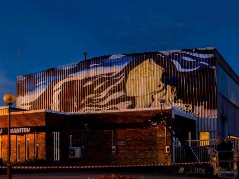 MODERNE MUNCH: Edward Munchs maleri «På kjærlighetens bølger» gjenskapt av graffitikunstner Eric Ness Christiansen.