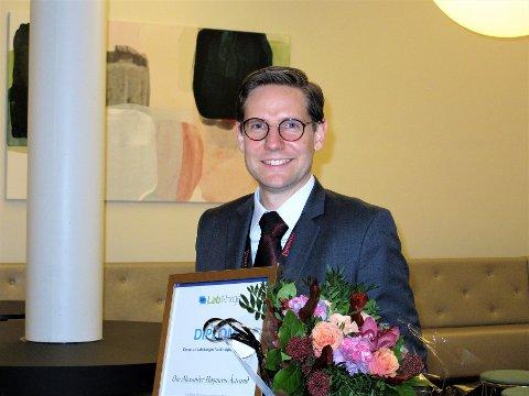 Alexander Høgmoen Åstrand (33) vant Lab Norges forskingspris for 2018 Foto: Sven Otto Rømcke.