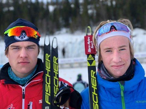 LIER-DUO: Mats Øverby (t.v.) og Vetle Rype Paulsen tok dobbeltseier i 18-årsklassen i NM skiskyting.