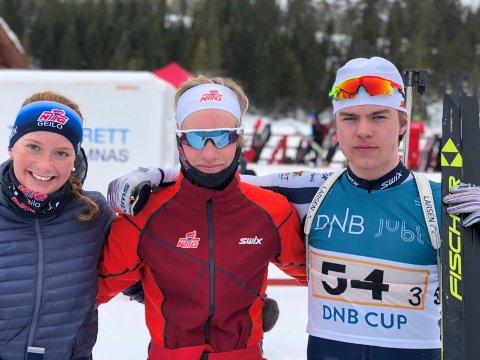 MIKSLAGET: Her er laget som tok gull for Buskerud i miks-stafetten: Åsne Skrede, Vetle Rype Paulsen og Mats Øverby.