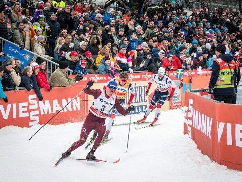 2022 NESTE GANG: I mars 2022 skal det etter planen bli skisprint i Drammen sentrum igjen. Sist gang var i 2019. Her fra 2018.
