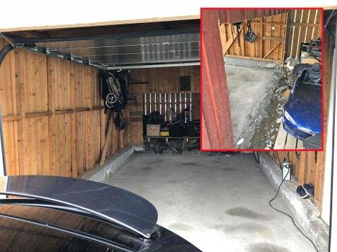 Tesla Model X er ingen liten bil. Og da kan det bli en utfordring å få bilen inn i garasjen. Da blir det av og til nødvendig å ta noen utradisjonelle grep. Alle foto: Privat