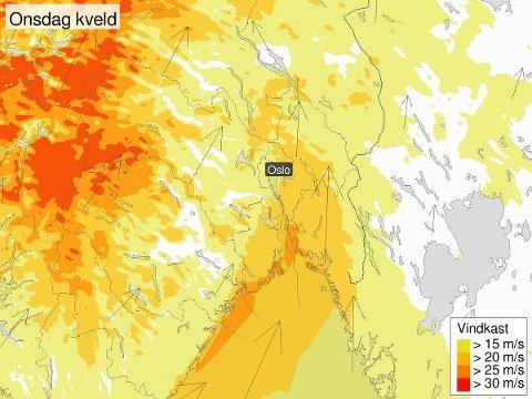 Disse prognosene viser hvor vi får de verste vindkastene onsdag kveld og natt til torsdag.