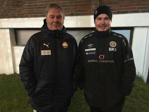 FAR OG SØNN: Både Godsets  Bjørn Petter Ingebretsen og MIFs Bjarne Kortgaard Ingebretsen var på trenerbenken i Ælv Classico onsdag.