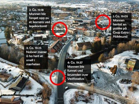 Oversikten viser Borgars siste time. Fra han ble fanget opp på et dashboard-kamera i Hokksund, tok det kort tid før han ble funnet skutt på gaten.