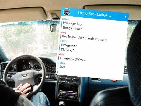 DRIVE BRO: Denne brukeren på Snapchat kjører ulovlig mellom Drammen og Oslo. Bilen på bildet tilhører ikke brukeren.