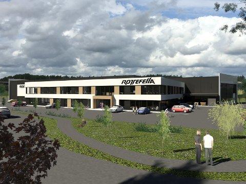 NYBYGG: Rotefella flytter fra Hurum og inn i flunkende nye lokaler på Kjellstad i Lier i løpet av sommeren 2020. ILLUSTRASJON: Veidekke