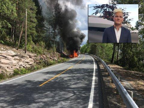 SNARRÅDIG: – Det var om å gjøre å få ham ut, sier 20-åringen. Han var én av tre som reddet en mann i 80-årene ut av en brennende bil tirsdag.