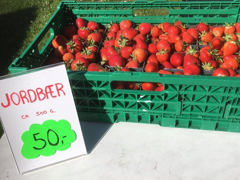 Kundene lot ikke vente på seg da Berger gård annonserte årets første jordbær på Facebook.
