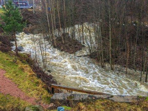 FLOMMET OVER: Brannvesenet måtte redde et hus i Svelvik fra de kraftige vannmassene søndag.