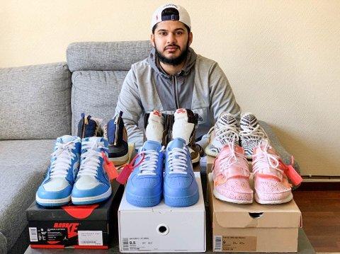 """SAMLING: Sadaan Mughal samler på sjeldne """"sneakers"""". Hobbyen er svært kostbar."""
