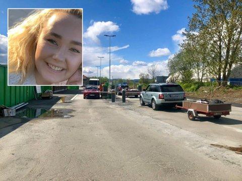 EVAKUERTE: Maria Gulbrandsen (innfelt) måtte hive seg i bilen og evakuere Mile Gjenvinningstasjon da det mandag ble levert inn farlig avfall.