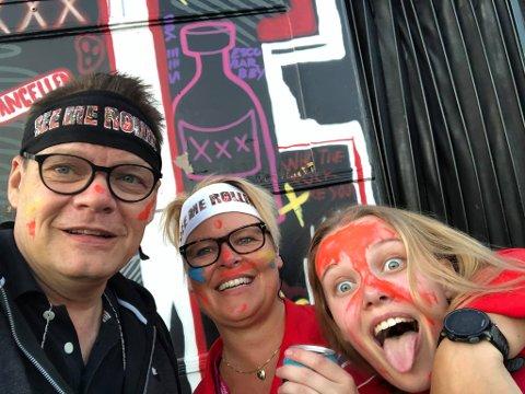 Familien Foss Andersen klar for rulling. F.v.: Vegard, Lise og Ida.