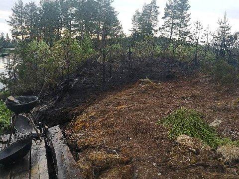 SVIDD: 15 voksne var i sving da det begynte å brenne på Vollen ved Røkebergtjern lørdag kveld.