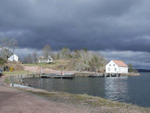 VARIERT BYGNINGSMASSE: Lenge har Håøya fungert som ferie- og rekreasjonssted for Forsvarets seksjoner. I 2016 ble tilbudet avviklet og fritidseiendommene skal ut på det private markedet. Bildet er av den nordligste delen av Håøya. Lengst til venstre ser vi Oppsynsmannsboligen og Skipperstua, som har utsikt mot vannet både øst -og vestover. Murbygningen til høyre i bildet er det gamle mineverkstedet.FOTO: Lise Borgland