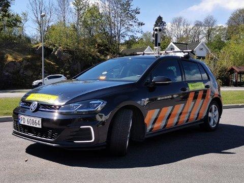 Denne bilen vil fotografere hver eneste offentlige vei i Drammen i tiden som kommer.
