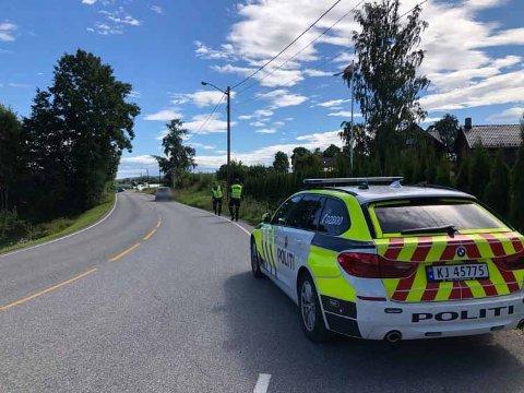 PÅKJØRSEL: Trafikkuhellet skjedde på Nøsteveien i retning Drammen.