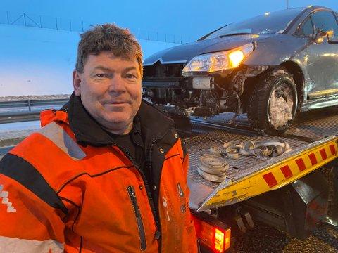 Morten Eriksrud fra Falck måtte igjen rykke ut til et trafikkuhell på E18 i Bergsengakrysset ved avkjøringen til Sande klokken 08.00 torsdag morgen.
