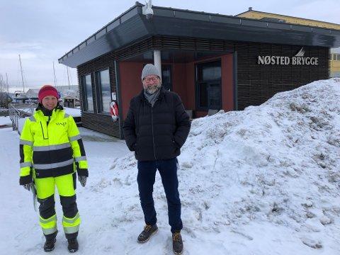 SER PÅ MULIGHETENE: Maria Algers Bakken i WSP og Jan Erik Hansen som er leder av prosjektgruppa for Utslippsfri fjord- og elveferje. Hansen er også utvikler av Nøsted Brygge Bolig.
