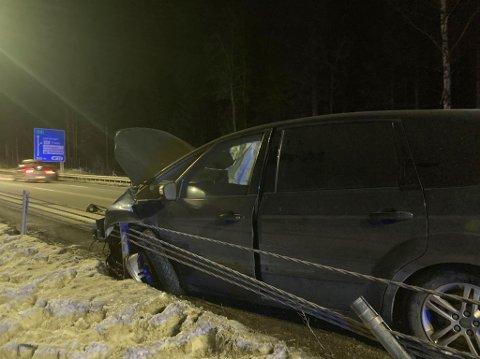 Bilen ble totalskadet i ulykken.