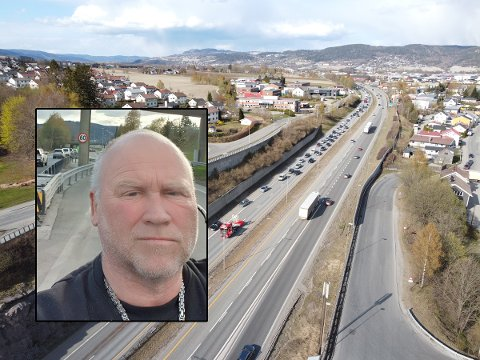 Gill Raymond Knudsen fikk arbeidsdagen forlenget med mer enn nok da han ble sittende fast i køen etter ulykken på E18.