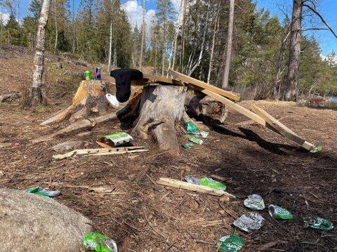 SVINESTI: Dette synes møtte familien på fire på tur. De ble lei seg og sure da de så all søppelet som lå strødd.