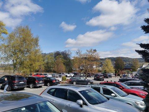 På Plantebørsen var det flere besøkende enn det var plass til biler torsdag.